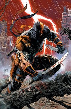 Deathstroke is not only badass, he is the only villain in DC Comics that an actually go toe to toe in combat against Batman. Arte Dc Comics, Marvel Comics, Hq Marvel, Flash Comics, Comic Book Characters, Comic Character, Comic Books Art, Comic Art, Dc Deathstroke