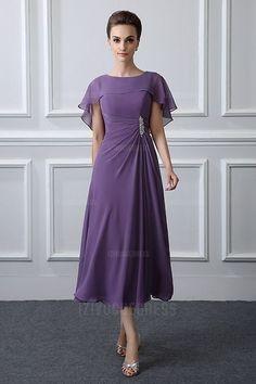 A-Line/Princess Jewel Tea-length Chiffon Mother of the Bride Dress