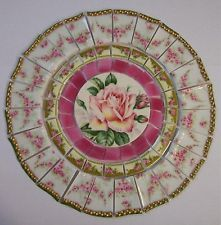 SHABBY MOSAIC TILE SET ~ YELLOW PINK ROSE ~ VINTAGE CHINA STAINED GLASS 7 1/2""