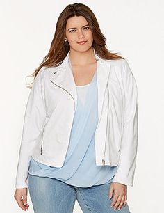 Urban-chic styling meets comfort with this moto jacket by DKNY JEANS. Trend-right moto detailing makes this a layering standout, with exposed asymmetric zippers and a snapping mandarin collar. Fitted with stretchy ribbed knit in back and contoured seams for a flattering shape. Zipped pockets complete the look. lanebryant.com