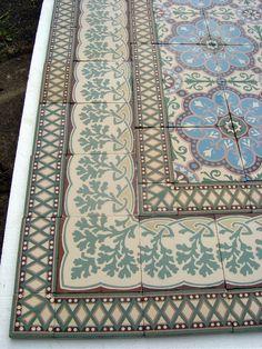 13m2+ Antique ceramic encaustic floor in beautifully vibrant colours - The Antique Floor Company