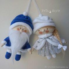 Купить Дед Мороз и Снегурочка Синий & Белый Текстильные куклы Игрушки на Елку в интернет магазине на Ярмарке Мастеров