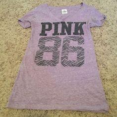 Victoria's Secret PINK v neck PINK logo v neck t shirt. In good condition PINK Victoria's Secret Tops Tees - Short Sleeve
