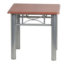 Laminate End Table For Home Office Furniture-Mahogany Silver Steel Frame Coffee http://www.bonanza.com/listings/271062028