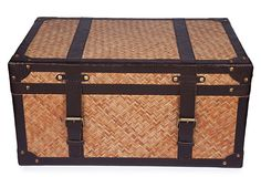 I love trunks and boxes of all sizes and materials! Natural Cane and Leather Steamer Trunk.