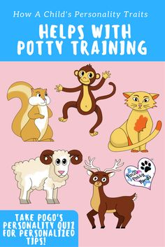Find out your toddlers animal personality with this simple Quiz! Share the results with your little one and plan activities or crafts around it. This educational personality quiz was made by Dr. Maria.| Find more potty training tips at