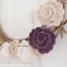 11 FREE Crochet Wreath Patterns: Crochet Flower Wreath FREE Pattern