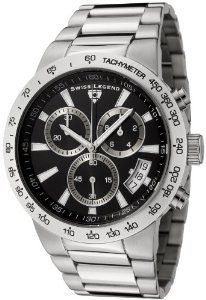 Swiss Legend Men's 10057-11 Endurance Collection Chronograph Stainless Steel Watch Swiss Legend. $160.00. Chronograph functions with 60 second, 30 minute and 1/10 of a second subdials; date function. Precise Swiss-quartz movement. Water-resistant to 330 feet (100 M). Durable mineral crystal; brushed and polished stainless steel case and bracelet. Black dial with silver-tone hands and hour markers; luminous; screw-down crown; big date window at 4:00; tachymeter sc...