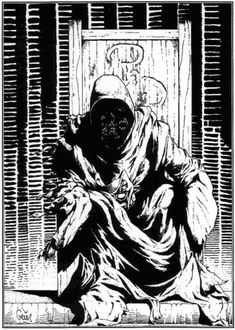 """""""The King in Yellow"""", illustration by Earl Geier in Richard Watts' scenario """"Tatterdemalion"""" for the Call of Cthulhu role-playing game published by Chaosium. The Yellow Sign adorning the back of the throne was designed by Kevin A. Ross for the scenario """"Tell for the Me, Have You Seen the Yellow Sign?""""."""