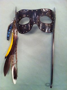 Hand Forged Iron mask with brass rivets mixed by ForgingAheadMetal, $189.00