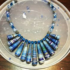 Working on a new necklace. #green #collection #recycled #paper #beads #unique #handmade #pieces #art #craft #creative #jewelry #pendants #earrings #magazine #upcycling #reporpoused Shop at: http://www.marimartscrafts.com/
