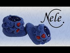 Babyschuhe häkeln - crocodile stitch - Schuppenmuster - Teil 2, DIY Anleitung by NeleC. - YouTube