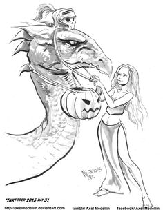INKtober 2015 and Drawlloween Day 31. Dragon by AxelMedellin.deviantart.com on @DeviantArt
