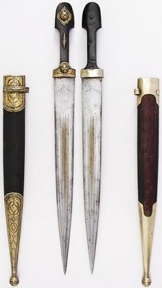 Caucasian qama / kindjal, 18th to 19th century, steel, horn, wood, leather, silver, L. with sheath 20 1/16 in. (51 cm); L. without sheath 19 5/16 in. (49.1 cm); L. of blade 14 in. (35.6 cm); W. 1 1/2 in. (3.8 cm); Wt. 11.6 oz. (328.9 g); Wt. of sheath 3.1 oz. (87.9 g), Met Museum, Bequest of George C. Stone, 1935.