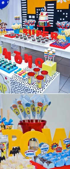 Superhero Birthday Party. Bright colors and fun ideas here: 3-tiered cake complete with a cityscape, superhero logos & the 3D cake topper made to resemble the birthday boy. Canvas tote favor bags printed with superhero sayings. Green rock candy Kryptonite. Comic strip word cut outs used for cupcake toppers. The birthday boy became the main character of his theme party. His friends received dress up superhero kits to wear.