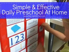the red kitchen: Simple & Effective Daily Preschool At Home- red pocket chart from Target $1 section