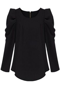 Black Zipper Puff Long Sleeve Cotton Blend Blouse