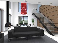 Interior de la vivienda, con su  zona de comedor y estar que ocupan el volumen a doble altura con sus grandes ventanales orientados al sur, el el cual el volumen aseptico adquiere vida propia gracias a la luminaria escultorea.