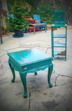 Shabby Chic Table Set seafoam green w/ by ReincarnatedwithLove