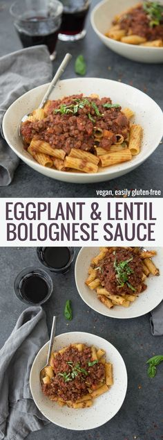 Eggplant Lentil Bolognese! You've gotta try this vegan and glutenfree pasta sauce, so hearty and full of plant-based protein. Roasted eggplant, homemade sauce and lentils. Amazing! | www.delishknowledge.com