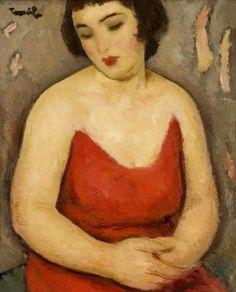 Nicolae Tonitza (Romania Fata in Rosu Biracial Women, Contemporary History, Post Impressionism, Sculpture, Romania, Female Art, Les Oeuvres, Fine Art, Image