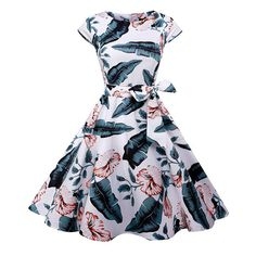 Clothing - Women Floral Vintage Hepburn Cocktail Party Skater Midi Swing Dress Source by - 50s Dresses, Vintage Dresses, Casual Dresses, Summer Dresses, Rockabilly Dresses, Party Dresses, Floral Dresses, Rockabilly Party, Tunic Dresses