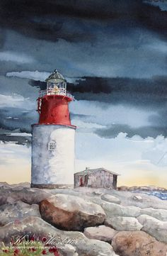 Sunday Watercolor: Hållö Lighthouse | Karin