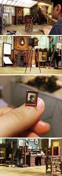 Dollhouse Sir Thomas Thumb Fireplace Hearth Broom  Burnt Edges Artisan Miniature