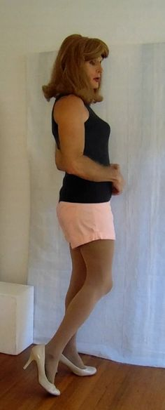 tgirl in shorts and sleeveless top