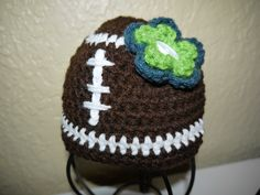 Seahawks Football Hat by One Knotty Mama. Find it on Facebook at facebook.com/jesslasher