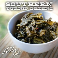 A dish no Southern table is complete without- Braised Turnip Greens with Pot Liquor! Recipe from the Loveless Cafe. This is just like mine except I have neer added sorghum.
