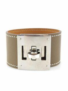 Hermes Etoupe Swift Kelly Dog Bracelet with Palladium Hardware   Socialite Auctions $650