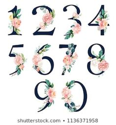 Navy Floral Number Set - digits 1, 2, 3, 4, 5, 6, 7, 8, 9, 0 with flowers bouquet composition. Unique collection for wedding invites decoration & other concept ideas.