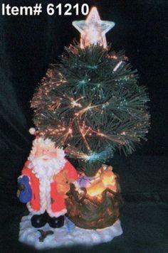 18 Light up Fiber Optic Artificial Christmas Tree W Santa Ligh Ornament *** See this great product. #XmasSeasonalDcor