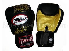 Twins Muay Thai Boxing Gloves : Black / Gold Dragon