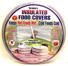 """Insulated Food Covers by American Clocks. $6.50. Ideal for picnics and outdoor parties. Help keep cookouts hot or cold. Ample room for covering layer cakes. Keeps out pests. Set of 2 in large (16"""" diameter) and small (14"""") sizes. As Seen on TV"""