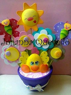 Imagen relacionada Foam Crafts, Diy And Crafts, Crafts For Kids, Arts And Crafts, Paper Crafts, Diy Cake Topper, Baby Shawer, Ideas Para Fiestas, School Decorations
