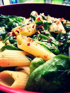 Chilli penne with baby spinach and garlic