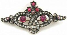 Bride's Love Knot Brooch – Diamonds, Rubies, Pearls (item #1354136)