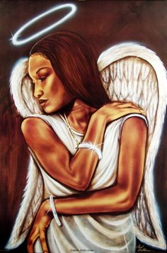 religious american art | Angelic Reflection - Fred Mathews - African American Angel Art