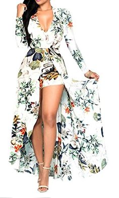 KXP Womens Sexy Vneck Print Chiffon Long Sleeve Romper Dress floral Medium *** Read more at the image link.
