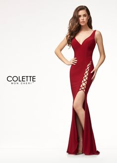 Colette for Mon Cheri CL18232 - You'll draw major attention in this fitted jersey dress! This designer prom dress features a super high, super sexy lace-up slit and a unique lace up back!