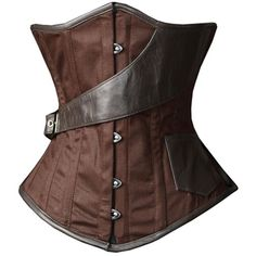 Camellias Brown Underbust Steampunk Airship Waist Training Corset ($27) ❤ liked on Polyvore featuring steampunk