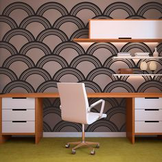 Art Deco Wallpaper Pattern - Vinyl Wall Art Decal for Homes, Offices, Kids Rooms, Nurseries, Schools, High Schools, Colleges, Universities, Events