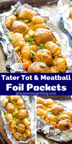 A dinner in a foil packet! You can make these Tater Tot Meatball Foil Packets in your oven in thirty minutes for a quick and easy dinner meal! cooking recipes tin foil dinners Tater Tot Meatball Foil Packet Meals - Gimme Some Grilling ® Tin Foil Dinners, Foil Packet Dinners, Foil Pack Meals, Foil Packets, Grilling Recipes, Meat Recipes, Cooking Recipes, Meatball Recipes, Cooking Foil