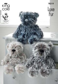 King Cole Teddy Bear Toys Luxe Fur Aran Knitting Pattern 9019