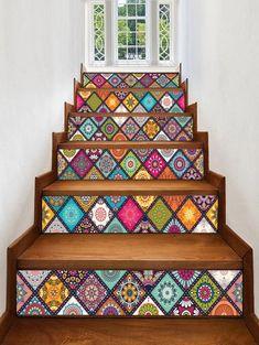Vinilo para escalera Mandala Plaid Print Stair Stickers - multicolor