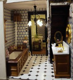 Greenleaf Willowcrest dollhouse miniature bathroom - Laura Davison.