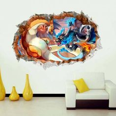 pokemon wall decor stickers kids bedroom removable children nursery cute wall decals self-adhesive living room wallpaper Pokemon Room, 3d Pokemon, Cool Pokemon, Wall Decor Stickers, Kids Stickers, Wall Decals, Room Wallpaper, Mural Art, Kids Bedroom
