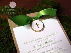Custom First Communion Invitation by PinkPeppermintPaper.com